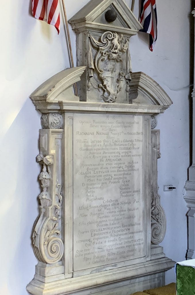 Monument to Richard Nicolls in the church at Ampthill